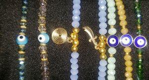 Pick 3 crystal evil blue eye hamsa bracelets cute
